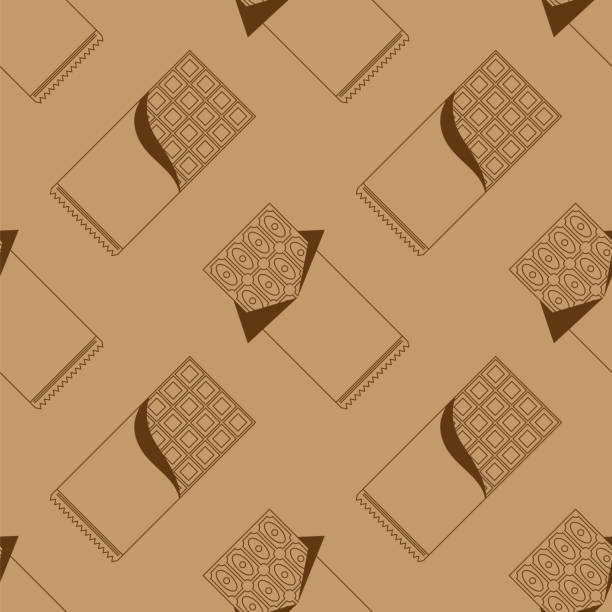 Milk Brown Chocolate Bar Seamless Pattern. Sweet Food. vector art illustration
