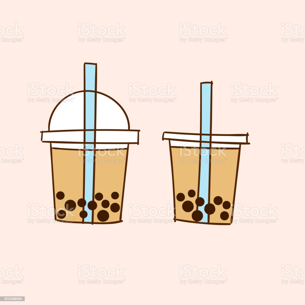 Milk Bubble Tea. Doodle drawing vector vector art illustration