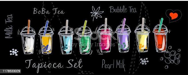 Tapioca milk bubble tea drink set sketch boba smoothie vector illustration collection cup on black background