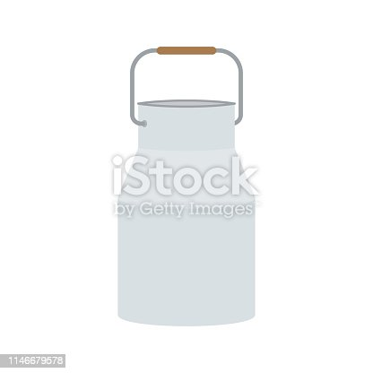Milk can. Vector illustration, isolated on white background