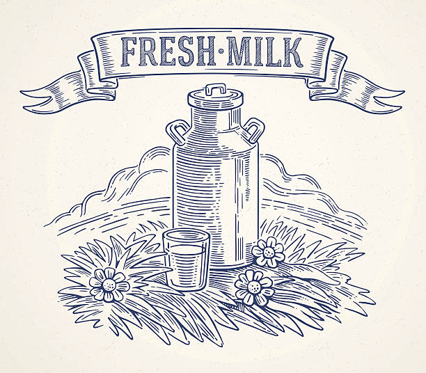 Milk cans and glass of milk. vector art illustration