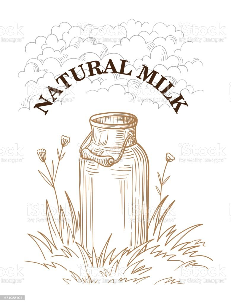 milk cans with grass country stock vector art 671038404 istock