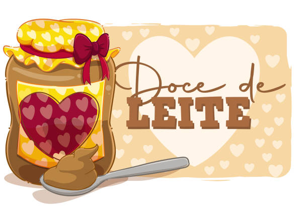 """milk caramel Cartoon style illustration of a jar and spoon of dulce de leche with the text """"dulce de leche"""". leite stock illustrations"""