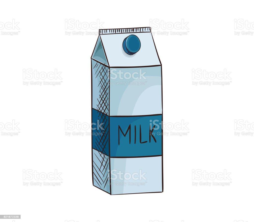 Milch Karton Vektor Icon Isoliert Von Hand Gezeichnete Skizze Des ...