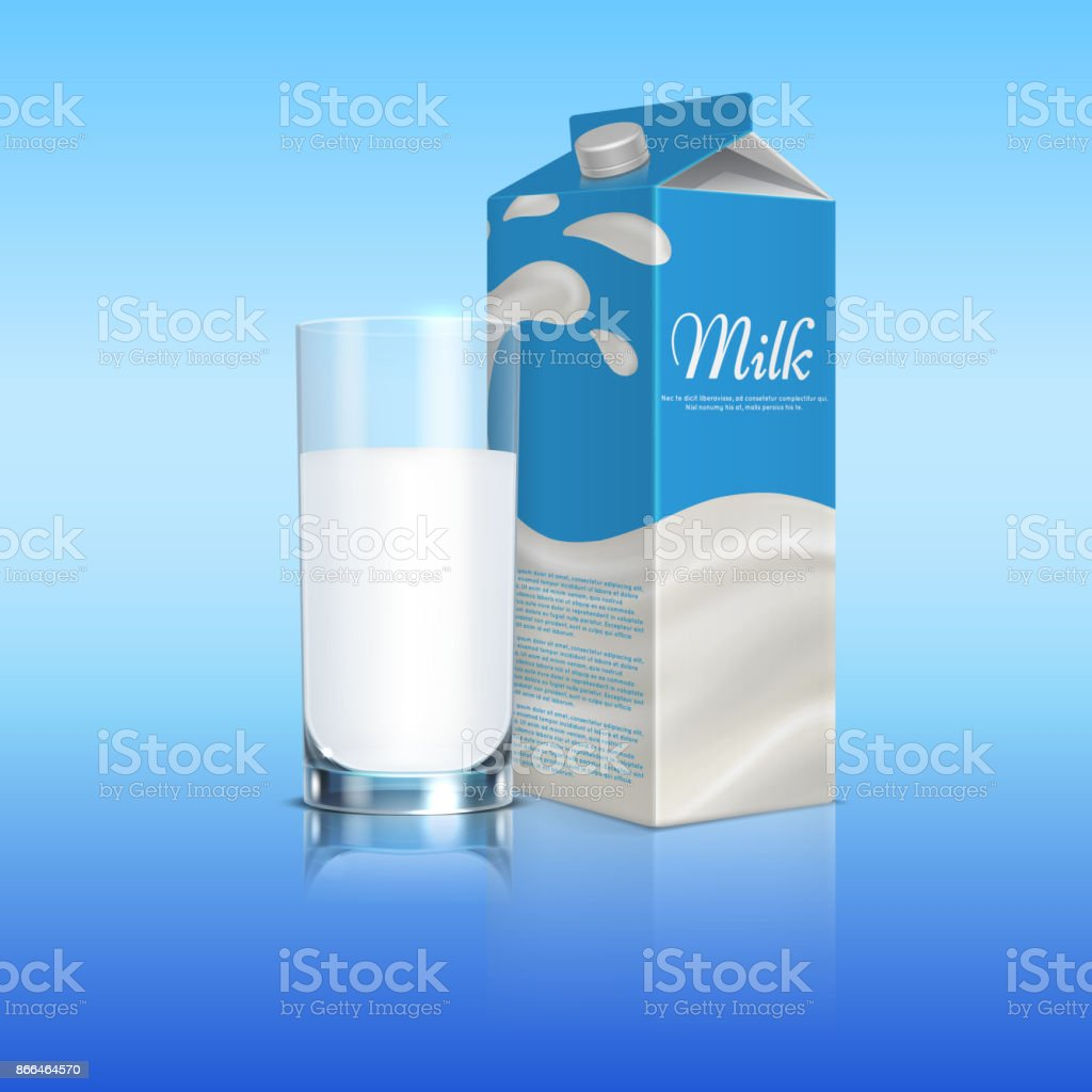 Milk Carton Box With Glass Cup Vector Template Royalty Free