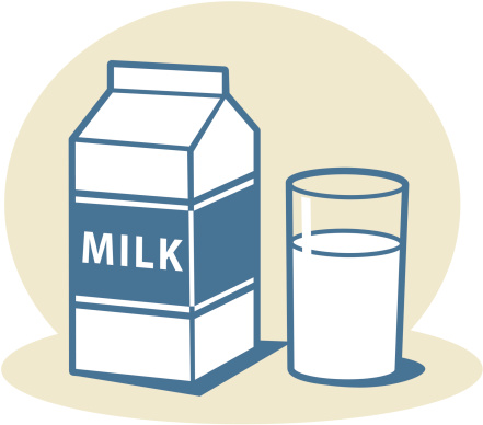 Milk carton with glass of milk
