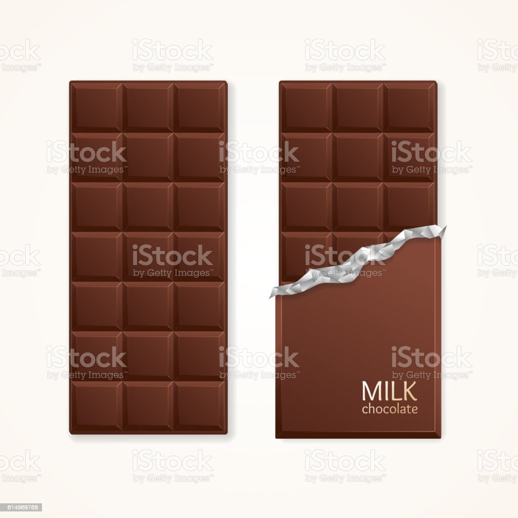 Milk Chocolate Package Bar Blank. Vector vector art illustration