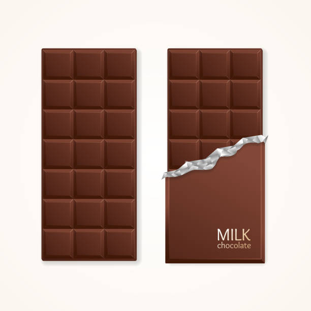 milk chocolate package bar blank. vector - 초콜릿 stock illustrations