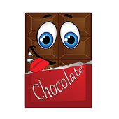 Milk chocolate with eyes and smile, vector illustration