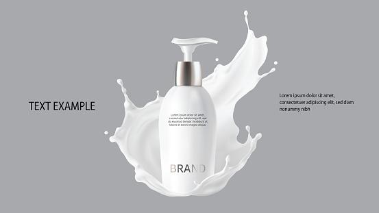 Milk cosmetics realistic vector