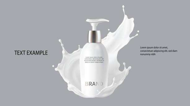 ilustrações, clipart, desenhos animados e ícones de vetor realístico dos cosméticos do leite - hidratante