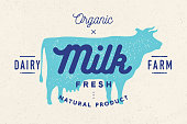 Milk, cow. Logo with cow silhouette, text Milk, Dairy farm, Organic, Natural product. Logo milk cow for dairy and meat business - shop, market. Vintage typography for cow milk. Vector Illustration
