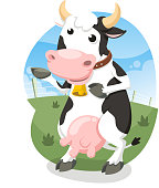 Milk Cow Standing Happy with Bell Collar Vector Illustration Cartoon.
