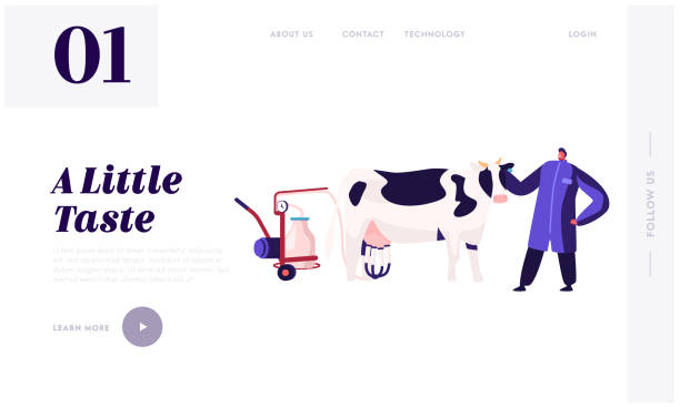 Milk Dairy Farmer Agriculture Products Website Landing Page. Man in Uniform Stand near Cow with Milking Machine. Farming Rancher Working on Animal Farm Web Page Banner Cartoon Flat Vector Illustration Milk Dairy Farmer Agriculture Products Website Landing Page. Man in Uniform Stand near Cow with Milking Machine. Farming Rancher Working on Animal Farm Web Page Banner Cartoon Flat Vector Illustration rancher illustrations stock illustrations