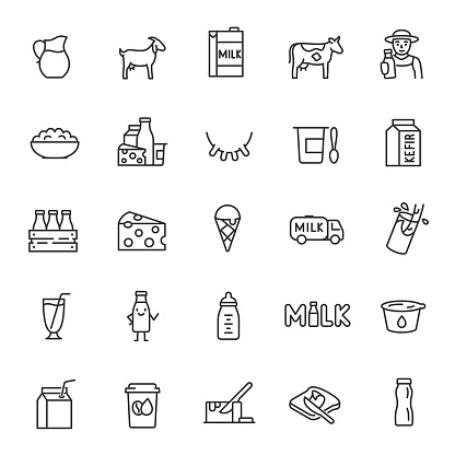 Milk, dairy products, icon set. Cream, butter, cheese, infant formula, yogurt, etc. linear icons. Editable stroke