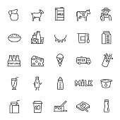 Milk, dairy products, icon set. Cream, butter, cheese, infant formula, yogurt, etc. linear icons. Line with editable stroke