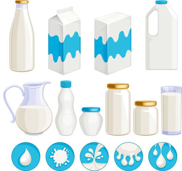 illustrazioni stock, clip art, cartoni animati e icone di tendenza di milk dairy products icons set. - latte