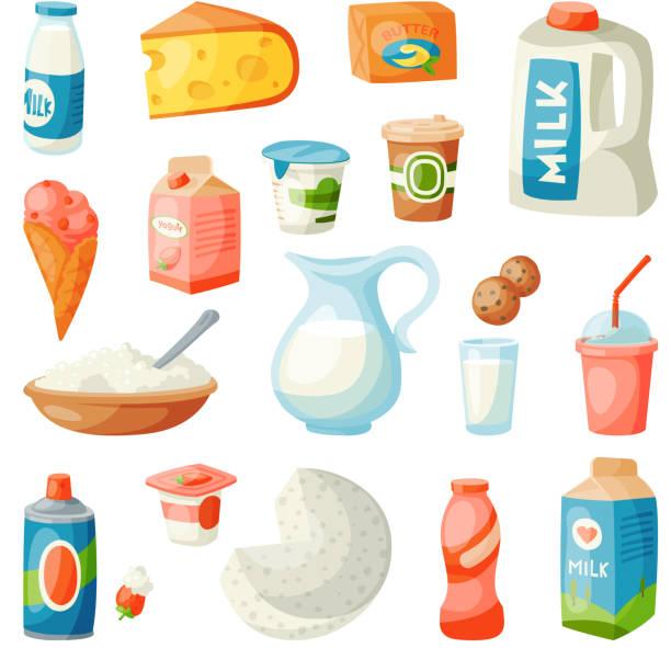 ilustrações, clipart, desenhos animados e ícones de produtos lácteos leite em estilo simples pequeno-almoço gourmet orgânico refeição dieta fresca comida bebida leitosa ingrediente nutrição ilustração vetorial - fruit salad