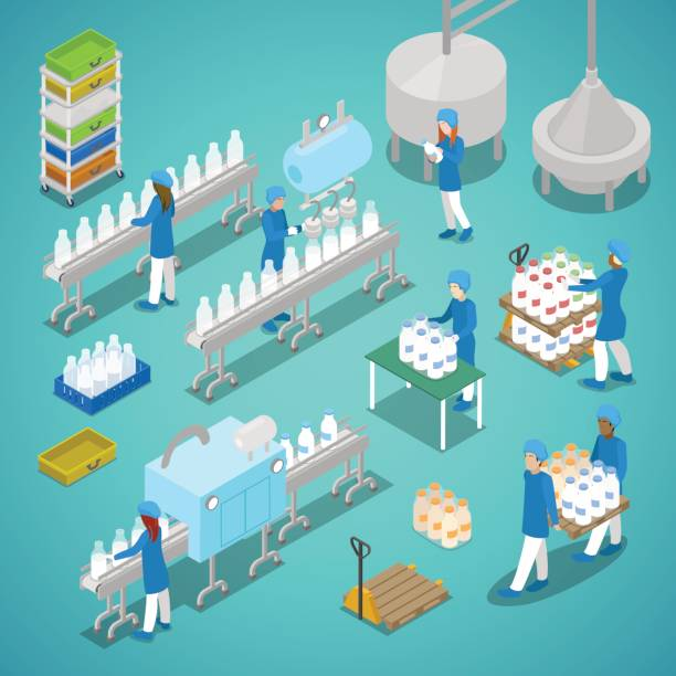 Milk Factory Automated Production Isometric vector art illustration