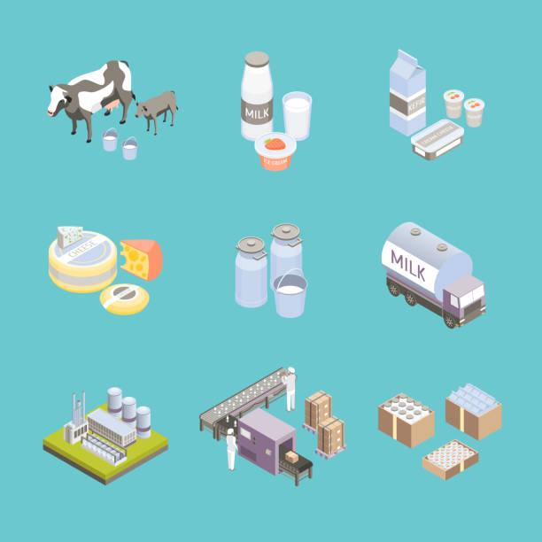 우유 공장 표지판 3 차원 아이콘 설정된 isometric 보기. 벡터 - 유가공 식품 stock illustrations