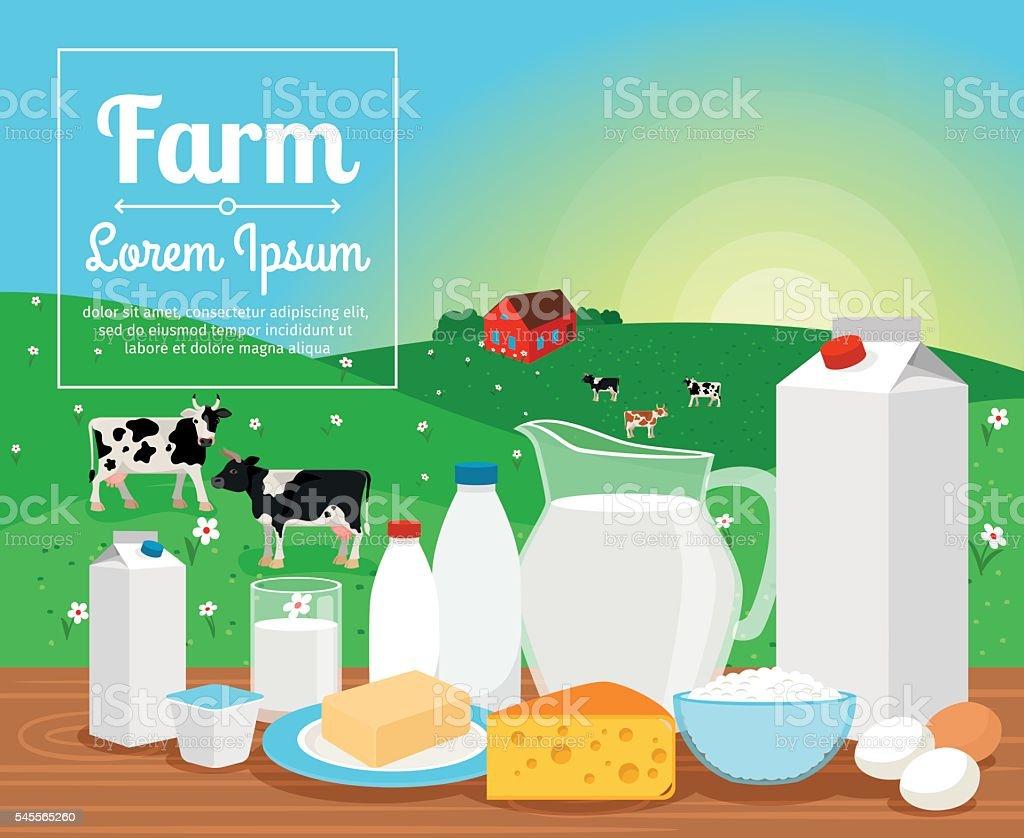 Milk farm dairy products ベクターアートイラスト