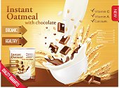 Instant porridge advert concept. Milk flowing into a bowl with grain and chocolate. Vector.