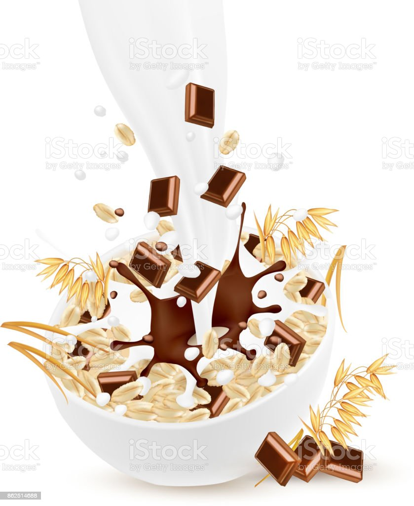Milk flowing into a bowl with grain and chocolate. Vector. vector art illustration