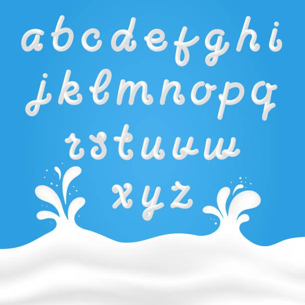 milch-schrift mit lateinischen buchstaben. weißer milch hand gezeichnete alphabet mit flüssigen buchstaben auf hintergrund mit milch spritzt - creme stock-grafiken, -clipart, -cartoons und -symbole