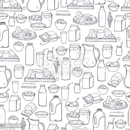 istock Milk food.  Vector seamless pattern. 1253450799