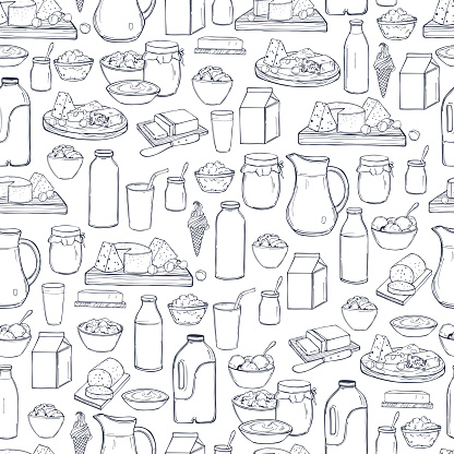 Milk food. Butter, cheese, sour cream, yogurt and cream on a white background. Vector seamless pattern.