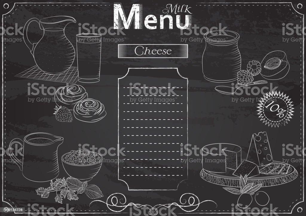 Milk foods menu vector art illustration