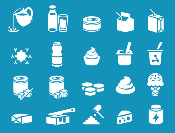 ilustrações de stock, clip art, desenhos animados e ícones de milk general product icon. dairy industrial processing. - manteiga