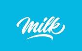 Milk handwritten logo design. Modern calligraphy lettering design. Milk, hand drawn text in lettering style.