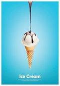 Milk ice cream cone, Pour chocolate syrup, Vector illustration