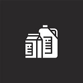 milk icon. Filled milk icon for website design and mobile, app development. milk icon from filled breakfast collection isolated on black background.