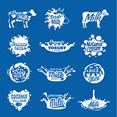 Vector milk, yogurt or cream icons and splashes for grocery, agriculture store, packaging