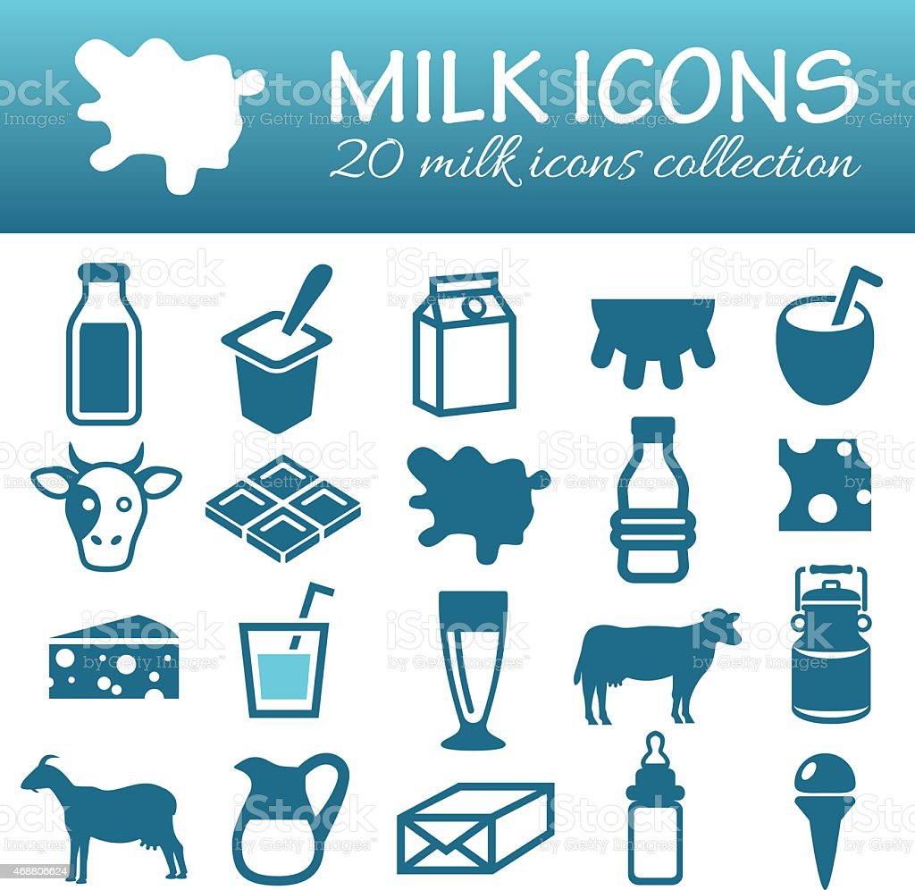 milk icons vector art illustration