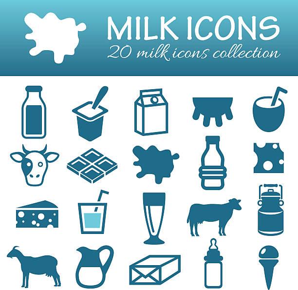 우유관 아이콘 - 유가공 식품 stock illustrations