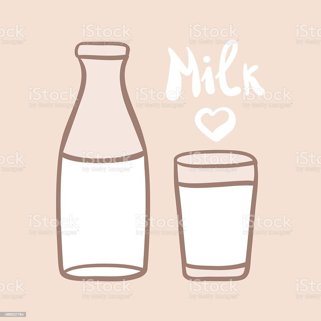 Milk in a glass bottle. Glass of milk. vector art illustration