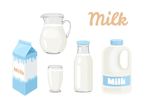 Milk in bottle, jug, glass, carton box and gallon of milk Isolated on white background. Vector illustration of dairy product in different packages in cartoon flat style.