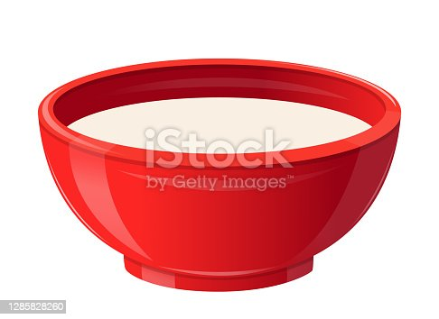 istock Milk in Ceramic Bowl, Healthy Breakfast Concept. Realistic Soup Plate Full of White Liquid. Natural Food, Dairy Drink 1285828260