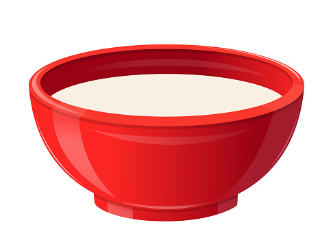 Milk in Red Ceramic Bowl, Healthy Breakfast Concept. Realistic Soup Plate Full of White Liquid. Natural Food, Dairy Drink, Source of Calcium Isolated on White Background. 3d Vector Illustration