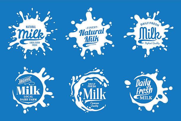illustrazioni stock, clip art, cartoni animati e icone di tendenza di etichette di latte. latte schizzi yogurt o gelato - prodotti supermercato