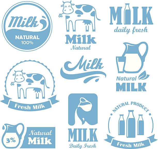 ilustraciones, imágenes clip art, dibujos animados e iconos de stock de etiquetas de leche - producto lácteo