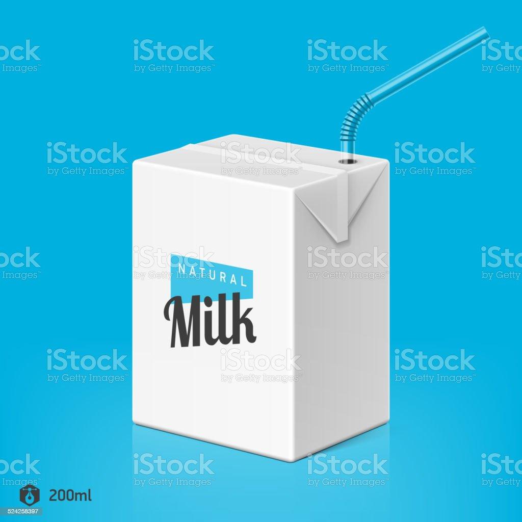 Milch Und Saftpackage Mit Strohhalm Vorlage Stock Vektor Art und ...