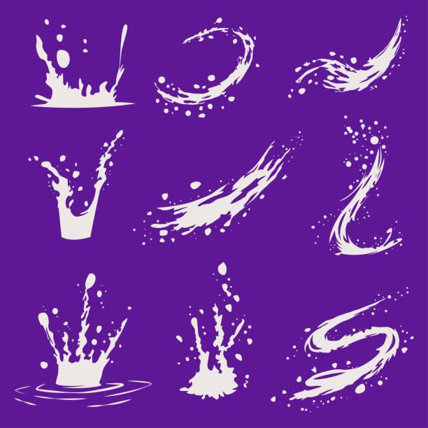 milch oder joghurt spritzern, tropfen und wellen ausgießen. satz von cartoon-vektor-icons und design-elemente auf hintergrund isoliert. - splash stock-grafiken, -clipart, -cartoons und -symbole