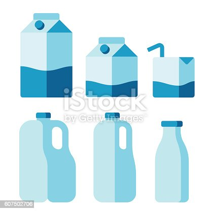 Set of milk container icons. Cartons, plastic jugs and glass bottle. Isolated flat vector illustration.