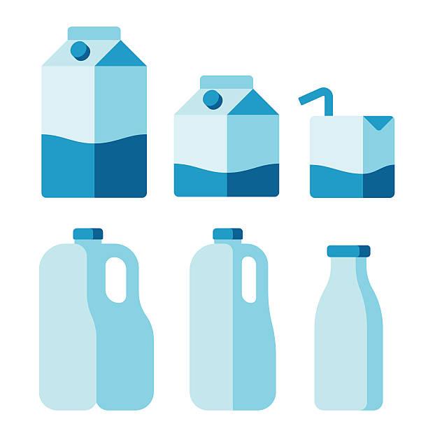 milk package set - plastikhülle stock-grafiken, -clipart, -cartoons und -symbole