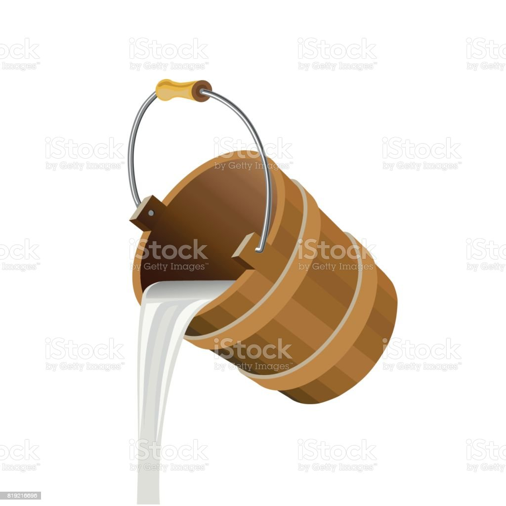 Milk pouring out of a bucket vector art illustration