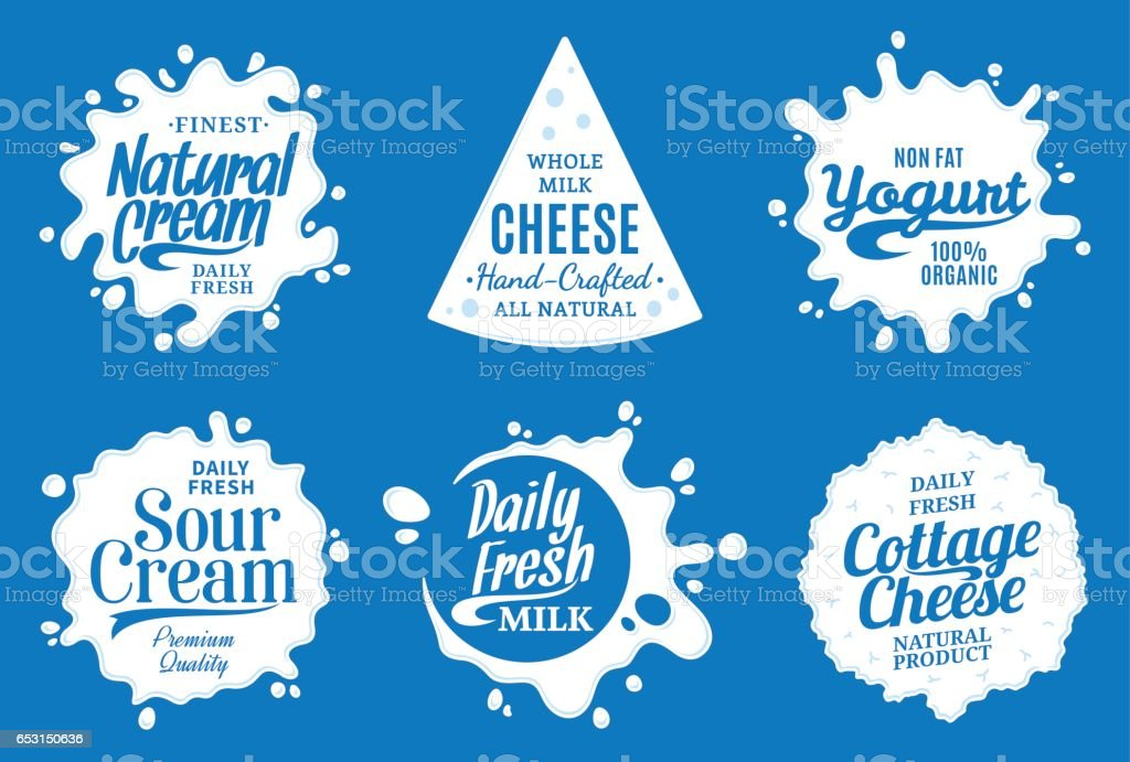 Milk product labels. Milk, yogurt or cream splashes vector art illustration